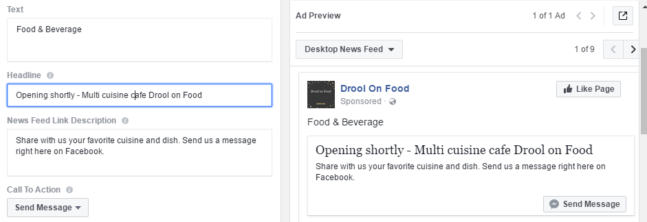 facebook messenger ad final setup