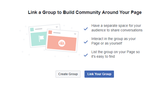 how to link facebook group and facebook page