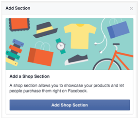 create new facebook shop section